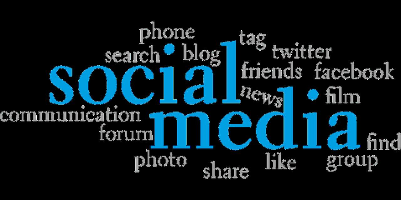 chmura tagów z napisem social media