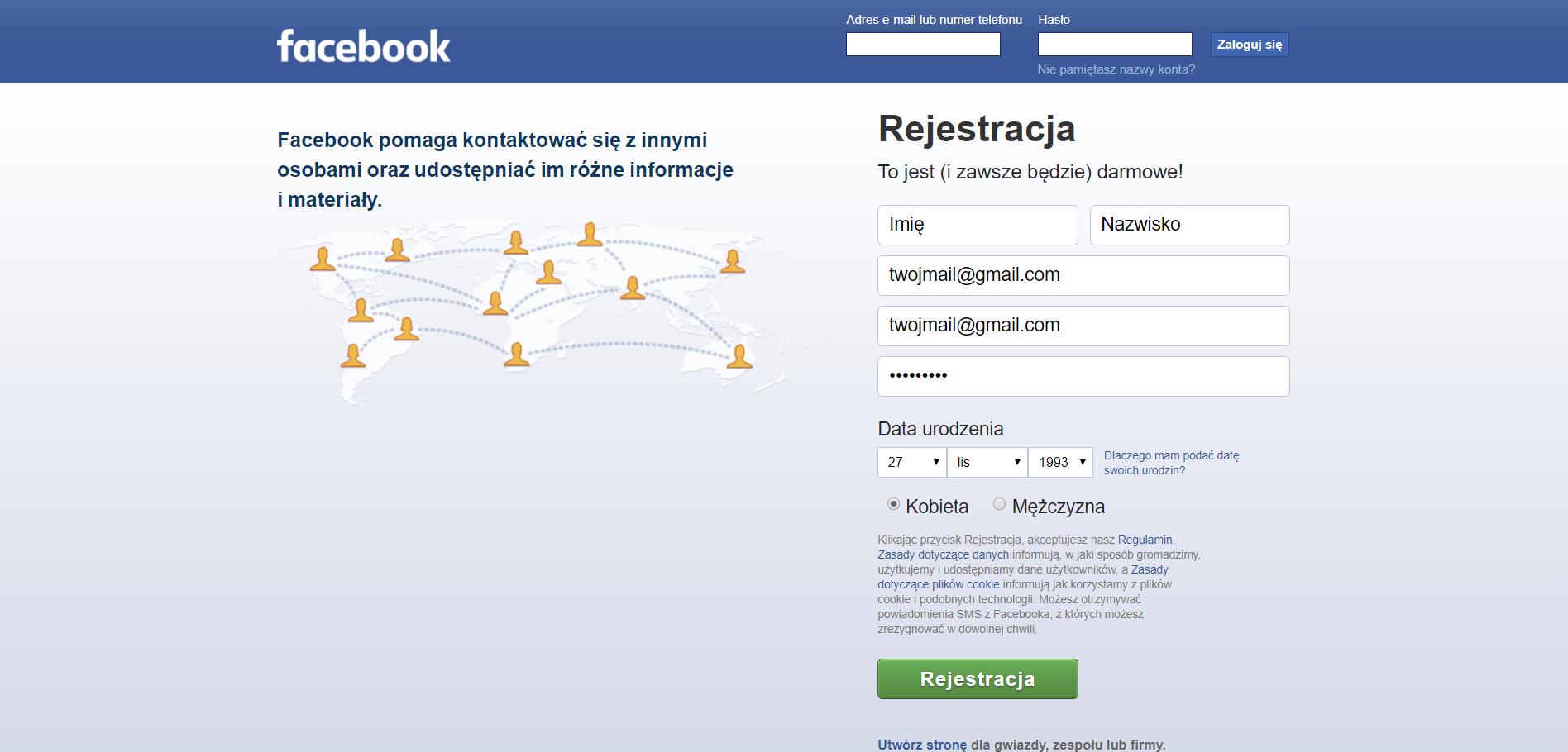 ekran poczatkowy facebook